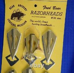 12 Vintage Fred Bear Razorhead Broadheads on Card. Recurve bow Longbow Hunting