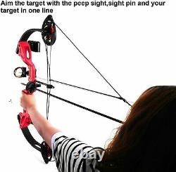 15-29lbs Compound Bow Kit With4pcs Arrows Right Hand Target Practice Hunting Youth