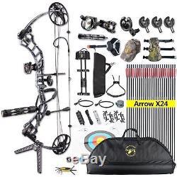 15-70lb Compound Bow & Arrow Hunting Target Archery Set CNC Black Camo 19-30