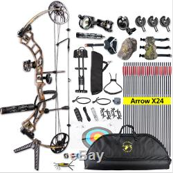 19-70lbs Topoint Trigon Archery Compound Bow Target Hunting Set Arrows Quiver RH
