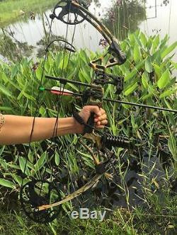Archery Camo Compound Bow Kit 20-70Lbs Right Handed Hunting With Arrows Set