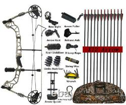 Compound Bow Arrows Set 30-70lbs Adjustable Archery Hunting Shooting Let Off 85%