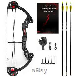 MAK Adult Hunting Archery Compound Black Bow WithBrush+3pcs Fiberglass Arrow Sport