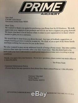 Prime Archery Black 5 70# RH Sub Alpine Exc Cond Never hunted with