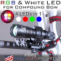 RGB & White Hunting light for Compound Bow Bowfishing-Picatinny Rail 10 Modes