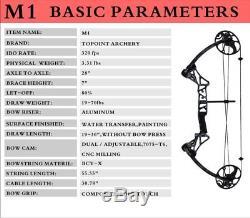 US 19-30 / 10-50 LBS Compound Bow & Arrow Archery Hunting Target Kit Limbs Bow