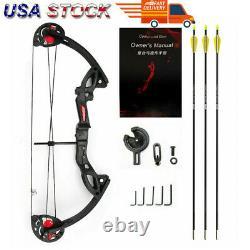 US Adult Hunting Archery Compound Bow WithBrush+3pcs Fiberglass Arrows Black