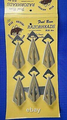 12 Vintage Fred Bear Razorhead Broadheads On Card. Recurve Bow Longbow Hunting