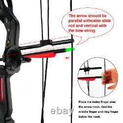 15-29lbs Compound Bow Kit With4pcs Flèches Main Droite Cible Pratique Chasse Jeunesse