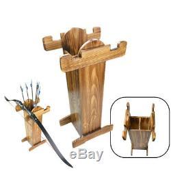 Bow Support En Bois Flèche Quiver Stockage Porte-longbow Arc Recourbé Chasse Tir À L'arc