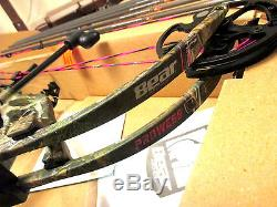 Nouveau Fred Bear Prowess Bow Gauche Main 35-50 # 50lb Femmes Chasse Rose